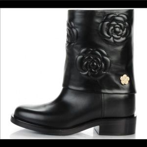 CHANEL camellia black boot shoe leather 36 6